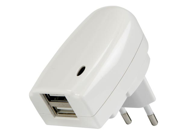 CHARGER WITH DUAL USB OUTPUT -  5V-2A, 10W max.