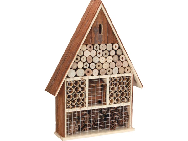 Wooden Insect Hotel With Bark Roof (large)