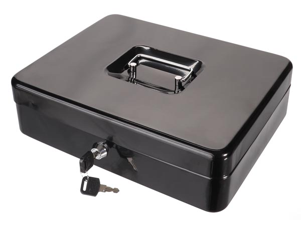 Cash Box - With Removable Coin Tray - 24 X 30 X 9 Cm