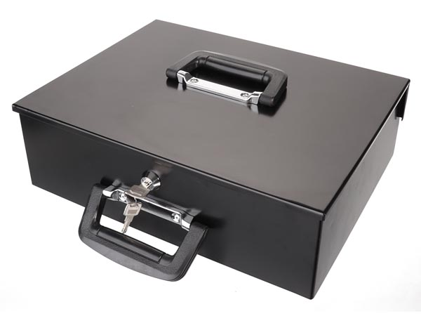 Cash Box - With Removable Euro Coin Tray - 27.5 X 35.5 X 10 Cm - Black