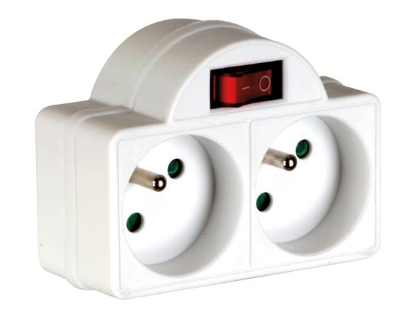 Adapter With On/off Switch - 2 Sockets - French Socket