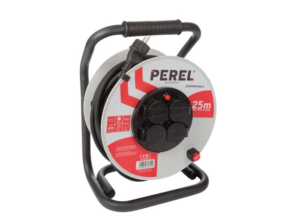Professional Neoprene Cable Reel - 25m - 3g2.5 - 4 Sockets