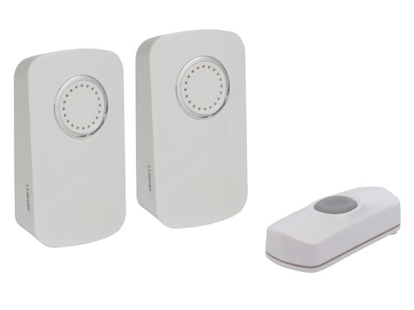 WIRELESS BATTERY OPERATED DOOR BELL KIT WITH 2 CHIMES AND 1 PUSH BUTTON