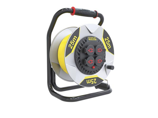 STANLEY FATMAX PROFESSIONAL NEOPRENE CABLE REEL WITH ANTI-TWIST SYSTEM - 25 m - 3G2.5 - 4 SOCKETS