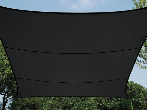 WATER-PERMEABLE SHADE SAIL - SQUARE - 5 x 5 m - COLOUR: CHARCOAL