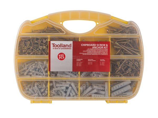 CHIPBOARD SCREW & ANCHOR KIT - 632 pcs