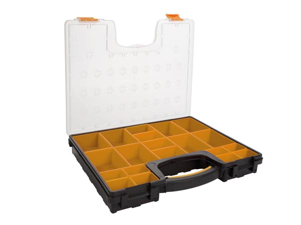 PLASTIC STORAGE BOX WITH REMOVABLE BINS - 42 x 33.5 x 6.5 cm