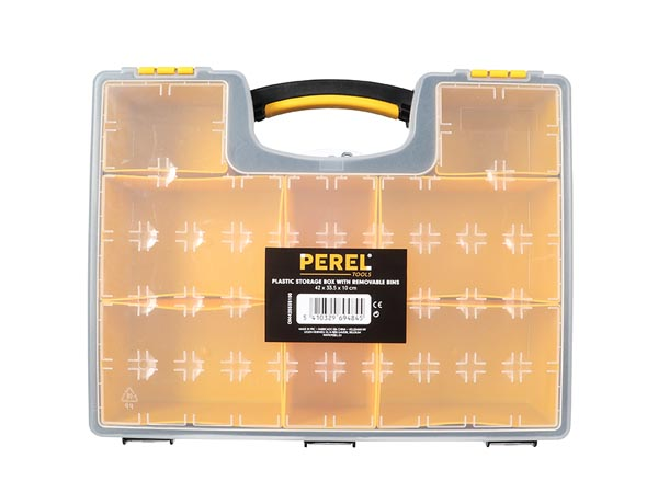 Plastic Storage Box With Removable Bins - 420 X 335 X 105 Mm