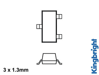 3 x 1.3mm SURFACE MOUNT LED LAMP RED DIFFUSED
