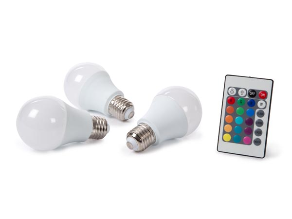 Set Of 3 LED Lamps - 7.5 W - E27 - RGB & Warm White