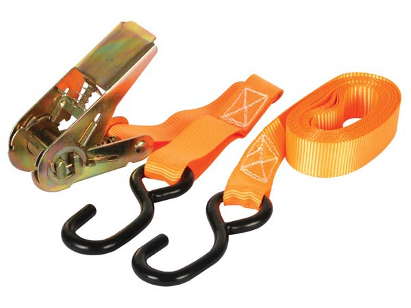 RATCHET TIE-DOWN WITH HOOKS - MAX. 500kg - 4.5m x 25mm
