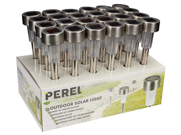 Solar Light With Stainless Steel Pole - 24pcs In Display