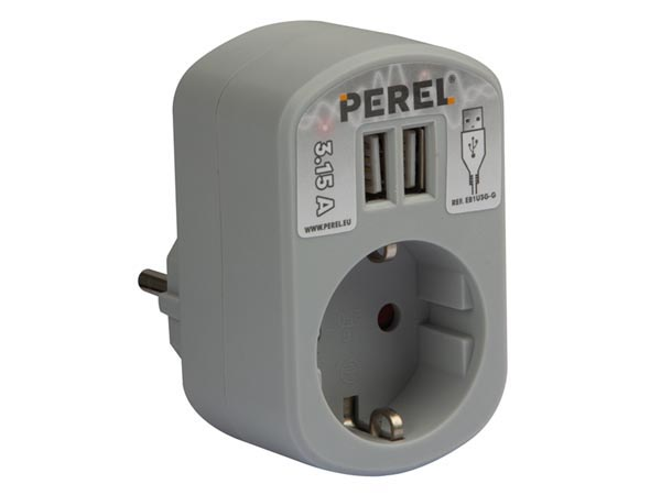 SINGLE POWER SOCKET WITH 2 USB PORTS, 3.15 A - GREY