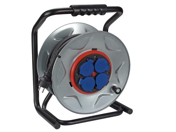 Professional Neoprene Cable Reel With Anti-twist System - 25m - 3g2.5 - 4 Sockets
