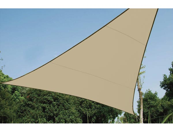 WATER-PERMEABLE SHADE SAIL - TRIANGLE 3.6 x 3.6 x 3.6m, COLOUR: BEIGE