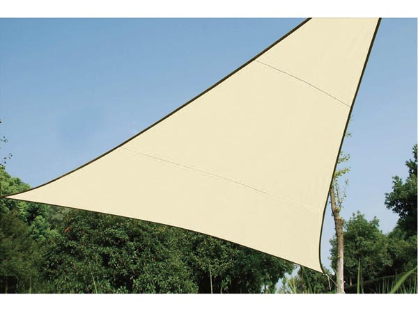 WATER-PERMEABLE SHADE SAIL - TRIANGLE 5 x 5 x 5m, COLOUR: BEIGE