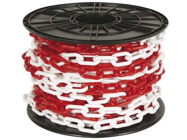 RED/WHITE CHAIN 8mm ON REEL - 25m