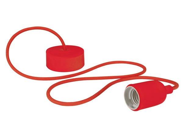 Design Pendant Lampholder With Fabric Cord - Red