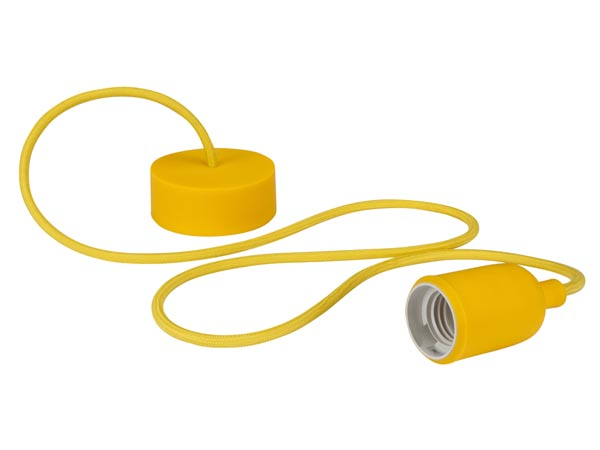 Design Pendant Lampholder With Fabric Cord - Yellow