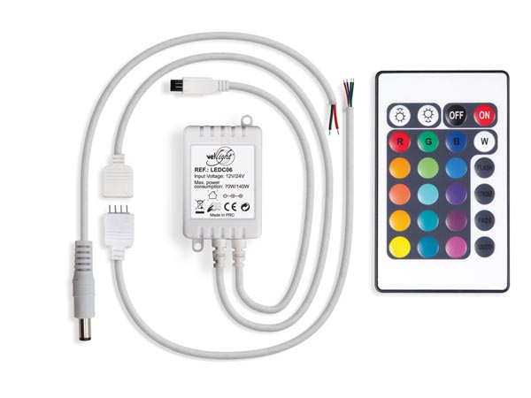 RGB LED CONTROLLER WITH 24 KEY REMOTE CONTROL