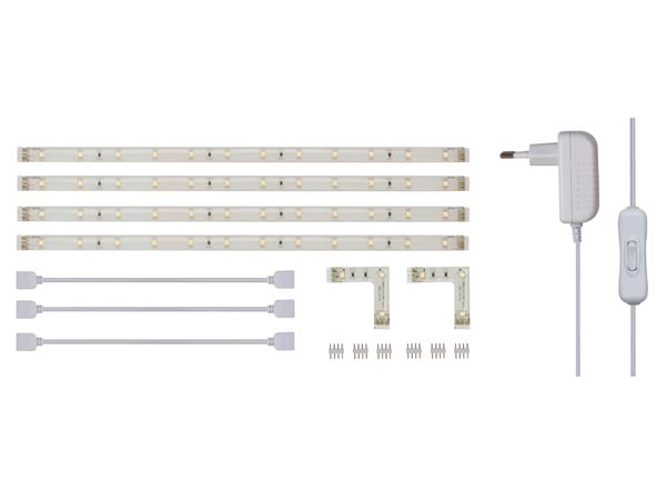 Kit With Flexible LED Strip And Power Supply - White - 4 X 30cm - 12vdc