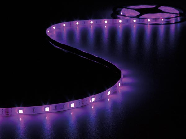 KIT WITH FLEXIBLE LED STRIP, CONTROLLER AND POWER SUPPLY - RGB - 150 LEDs - 5 m - 12 VDC - NO COATING