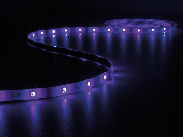 KIT WITH SOUND-CONTROLLED FLEXIBLE LED STRIP, CONTROLLER AND POWER SUPPLY - RGB - 150 LEDs - 5 m - 12 VDC
