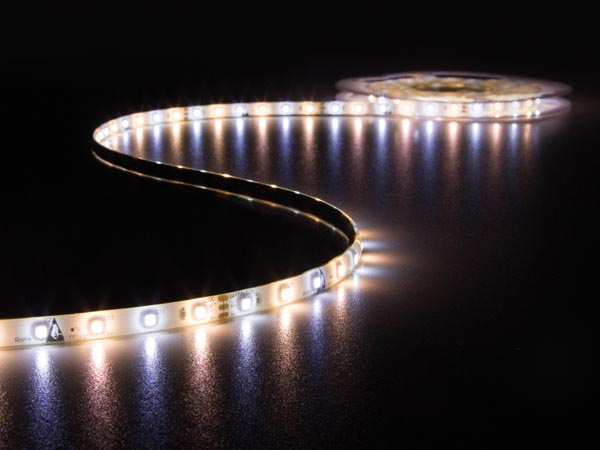 KIT WITH WARM WHITE & COLD WHITE FLEXIBLE LED STRIP, CONTROLLER AND POWER SUPPLY - 300 LEDs - 5 m - 12 VDC