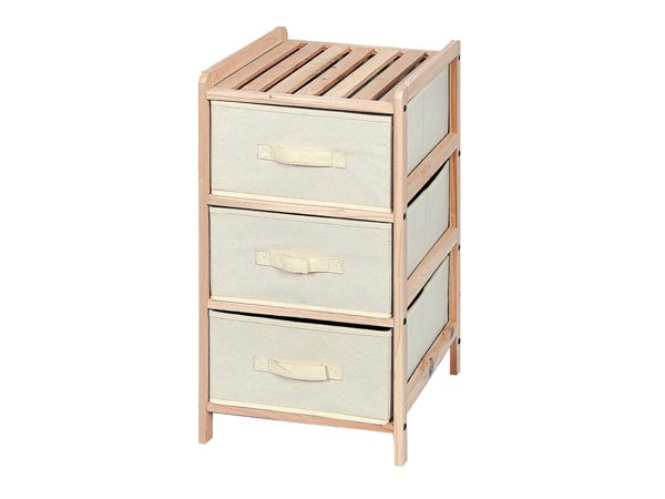 WOODEN STORAGE RACK - 34.5 x 36.5 x 67 cm - 3 DRAWERS