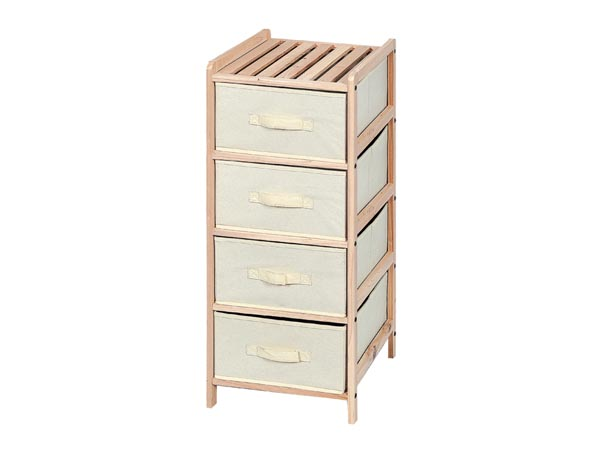 WOODEN STORAGE RACK - 34.5 x 36.5 x 86 cm - 4 DRAWERS