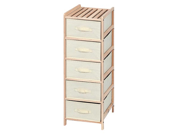WOODEN STORAGE RACK - 34.5 x 36.5 x 105 cm - 5 DRAWERS