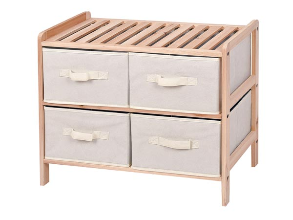 WOODEN STORAGE RACK - 59 x 28 x 50.5 cm - 2 x 2 DRAWERS