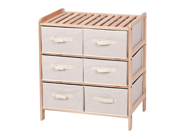 WOODEN STORAGE RACK - 59 x 28 x 70.5 cm - 3 x 2 DRAWERS