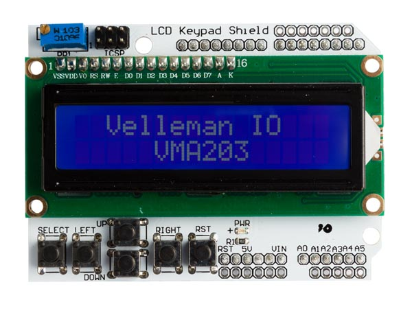 Velleman IO for Arduino VMA203: LCD & KEYPAD SHIELD FOR ARDUINO
