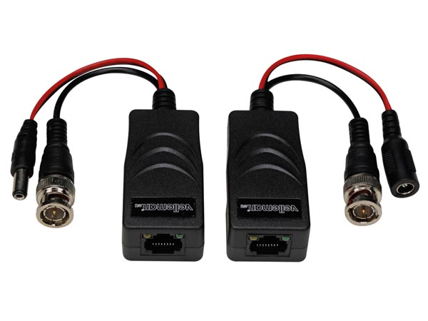 TVI VIDEO AND POWER BALUN WITH 8P8C (RJ45) TERMINAL AND BNC/POWER CABLES - PAIR