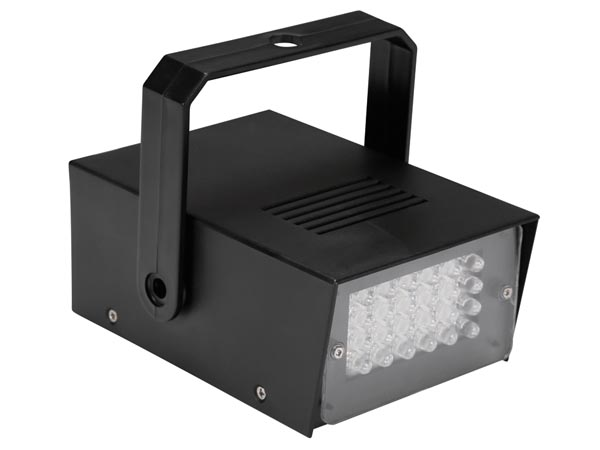MINI valge LED-stroboskoop - 24 LED - patareiga