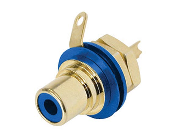 REAN - PHONO RECEPTACLE (RCA) - GOLD-PLATED CONTACTS - BLUE