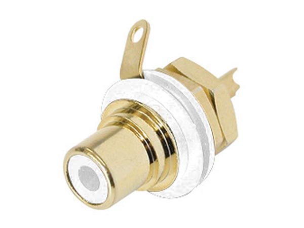 REAN - PHONO RECEPTACLE (RCA) - GOLD-PLATED CONTACTS - WHITE