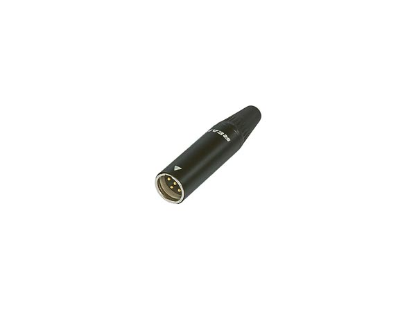 REAN - TINY 4-POLE CABLE CONNECTOR, MALE,  BLACK METAL SHELL, GOLD PLATED CONTACTS