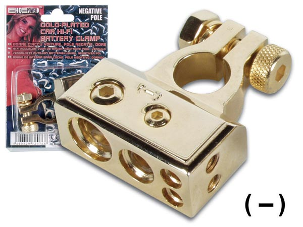 GOLD-PLATED CAR HI-FI BATTERY CLAMP, NEGATIVE POLE