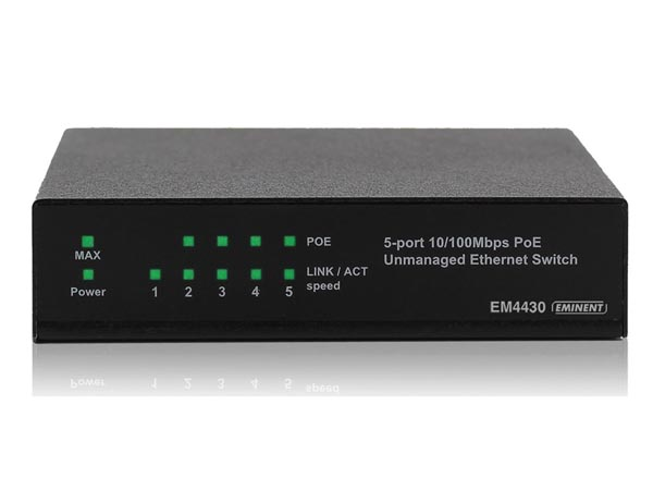 EMINENT - POWER OVER ETHERNET SWITCH 5-PORT 10/100 Mbps - 4 PoE ports