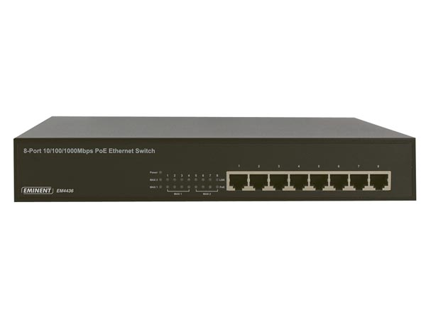 EMINENT - PoE - POWER OVER ETHERNET GIGABIT SWITCH 8-PORT 10/100/1000 Mbps - 8 PoE ports