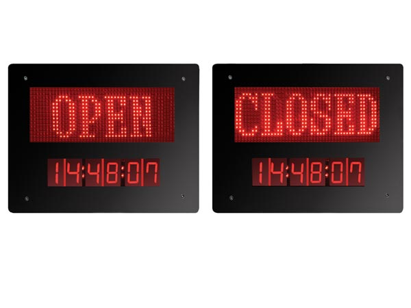 mb02c led schild open closed mit uhr velleman wholesaler and developer of electronics. Black Bedroom Furniture Sets. Home Design Ideas