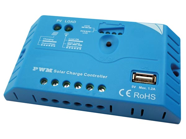 Pwm Solar Charge Controller With USB Output - 10 A - 12/24 Vd
