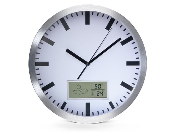 ALUMINIUM LCD WALL CLOCK WITH THERMOMETER, HYGROMETER & FORECAST - Ø 25 cm