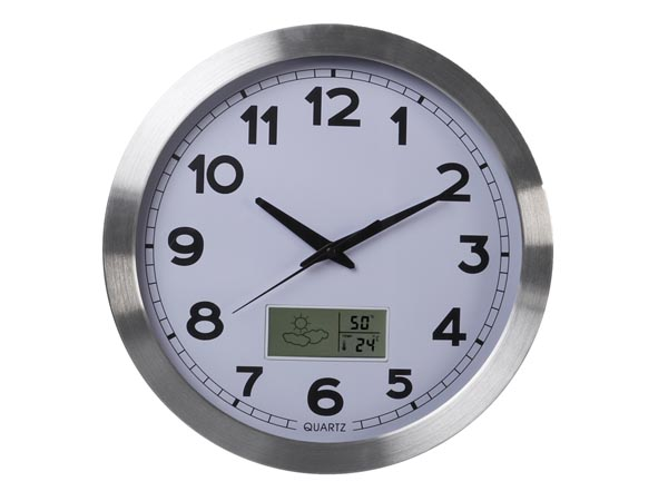 ALUMINIUM LCD WALL CLOCK WITH THERMOMETER, HYGROMETER & FORECAST - Ø 35 cm