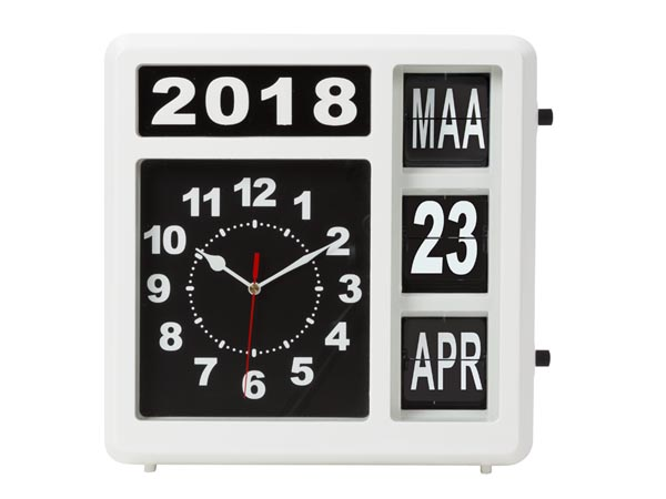 Wall Flip Clock With Calendar - 31 X 31 Cm - Dutch Version
