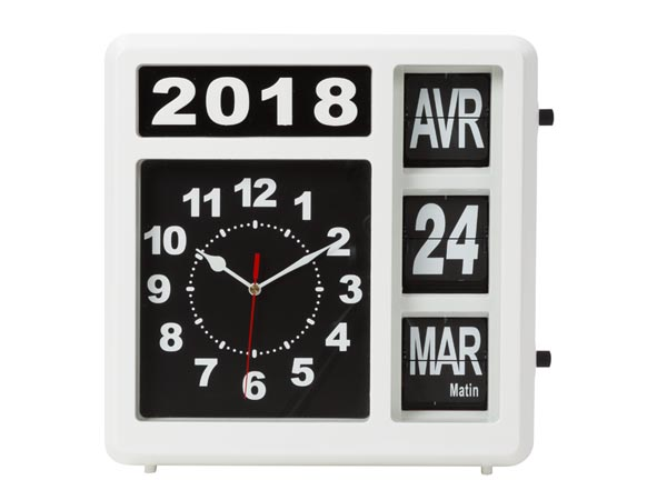 Wall Flip Clock With Calendar - 31 X 31 Cm - French Version