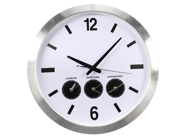 Aluminium Wall Clock With Three Country Times - 45.5 Cm