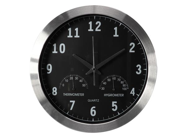 ALUMINIUM WALL CLOCK WITH THERMOMETER & HYGROMETER - Ø 35.5 cm
